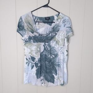 Anthropologie Deletta Cowl Floral Watercolor Top